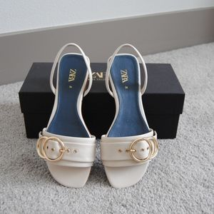 Zara Blue Collection Leather Sandals